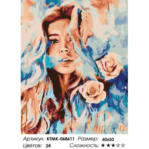 Девушка с розами Раскраска картина по номерам на холсте KTMK-068611