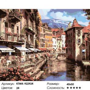 Количество цветов и сложность Кафе у канала Раскраска картина по номерам на холсте KTMK-922924