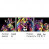 Количество цветов и сложность Радужные звери Триптих Раскраска картина по номерам на холсте PX5099