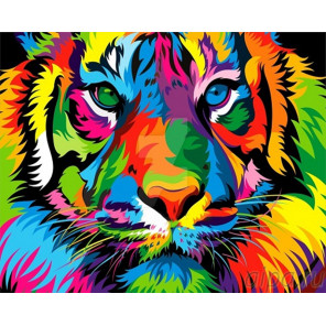 Разноцветный тигр Раскраска картина по номерам на холсте GX27378