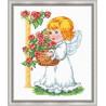 Ангелочек с корзиной роз Набор для вышивания Овен 628