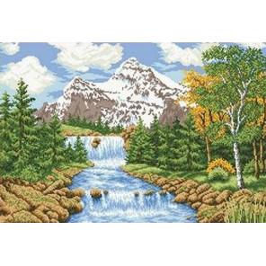 Речка в лесу Канва с рисунком для вышивки бисером