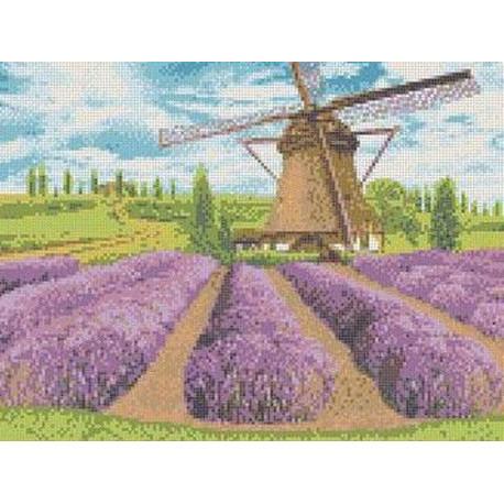Цветущая лаванда Канва с рисунком для вышивки бисером