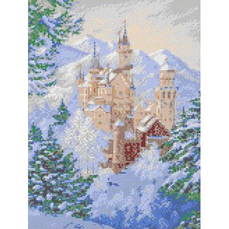 Зимний замок Канва с рисунком для вышивки бисером