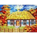 Осень в деревне Канва с рисунком для вышивки бисером