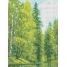 Озеро в лесу Канва с рисунком для вышивки бисером