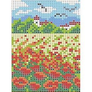 Маковое поле Канва с рисунком для вышивки бисером