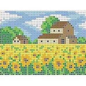 Поле подсолнухов Канва с рисунком для вышивки бисером