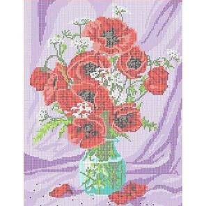 Маки в вазе Канва с рисунком для вышивки бисером
