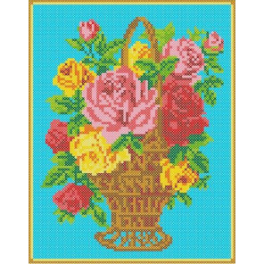 Корзина с розами Канва с рисунком для вышивки бисером