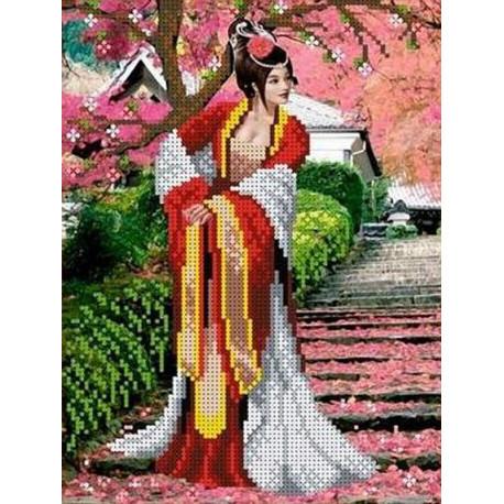 Японский сад Канва с рисунком для вышивки бисером