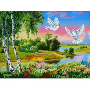 Русский пейзаж Канва с рисунком для вышивки бисером
