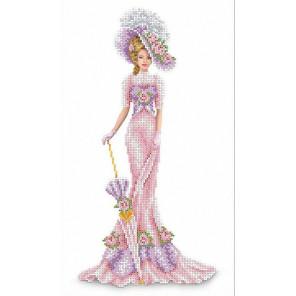 Дама в розовом Канва с рисунком для вышивки бисером