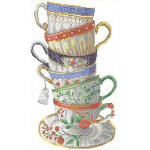 Шесть чашек Канва с рисунком для вышивки бисером