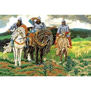 Три богатыря Канва с рисунком для вышивки бисером