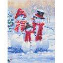 Семья снеговиков Канва с рисунком для вышивки бисером