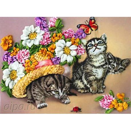 Котята Набор для вышивки лентами
