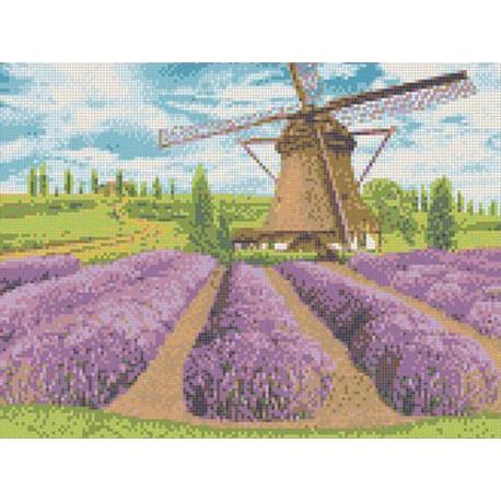 Цветущая лаванда Канва с рисунком для вышивки Каролинка