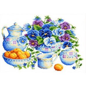 Голубой букет Канва с рисунком для вышивки Каролинка