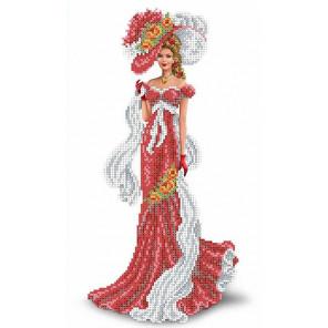 Дама с шарфом Набор для вышивки бисером Каролинка