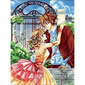 Влюбленные в саду Раскраска картина по номерам на холсте