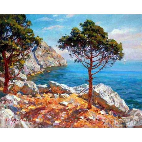 Крымский пейзаж Раскраска картина по номерам на холсте
