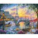 Париж на закате Раскраска картина по номерам на холсте