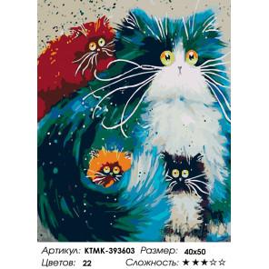 Количество цветов и сложность Пушистые и глазастые Раскраска картина по номерам на холсте KTMK-393603