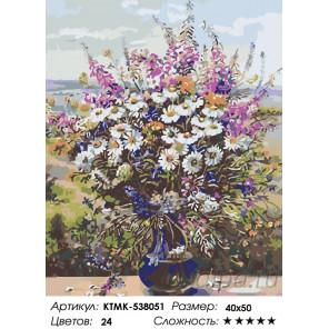 Количество цветов и сложность Ваза с полевыми цветами Раскраска картина по номерам на холсте KTMK-538051