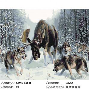 Количество цветов и сложность Волчья охота Раскраска картина по номерам на холсте KTMK-62638