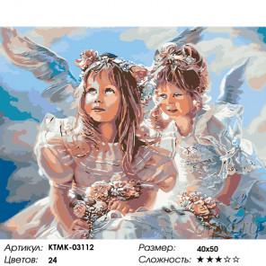 Количество цветов и сложность Ангелочки с цветами Раскраска картина по номерам на холсте KTMK-03112