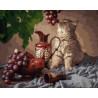 Кот и виноград Раскраска картина по номерам на холсте GX27405