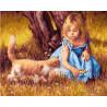 Девочка с котенком Раскраска картина по номерам на холсте GX27398