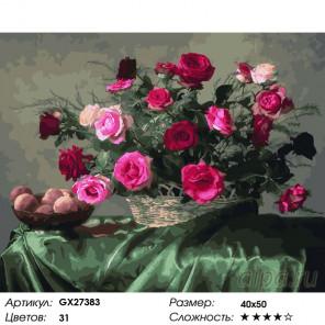 Количество цветов и сложность Свежие розы Раскраска картина по номерам на холсте GX27383