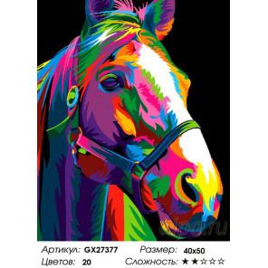 Количество цветов и сложность Радужная лошадь Раскраска картина по номерам на холсте GX27377