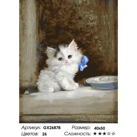 котенок с бантиком раскраска картина по номерам на холсте Gx26878