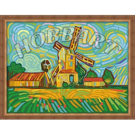 разноцветная мельница раскраска по номерам на холсте Hobbart Hb3040037