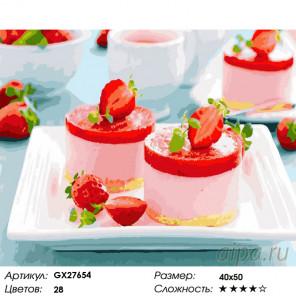Количество цветов и сложность Клубничный десерт Раскраска картина по номерам на холсте GX27654