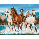 Бегущие лошади Раскраска картина по номерам на холсте GX27442