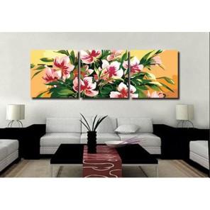 Цветы Триптих Раскраска по номерам акриловыми красками на холсте Menglei