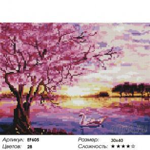 Количество цветов и сложность Сакура над рекой Алмазная вышивка мозаика Painting Diamond EF605