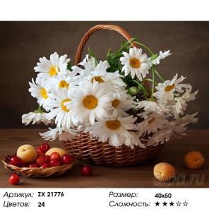 Количество цветов и сложность Ромашки в корзине Раскраска картина по номерам на холсте ZX 21776