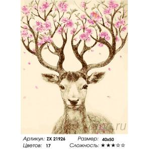 Количество цветов и сложность Олень в цветах Раскраска картина по номерам на холсте ZX 21926