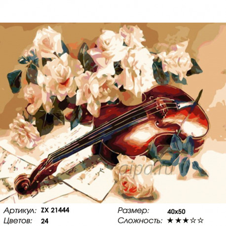 Количество цветов и сложность Скрипка и розы Раскраска картина по номерам на холсте ZX 21444