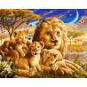 Львиная семья ночью Раскраска картина по номерам на холсте ZX 21479