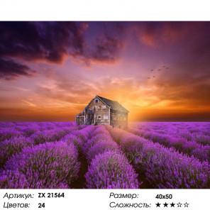 Количество цветов и сложность Домик в лавандовом поле Раскраска картина по номерам на холсте ZX 21564