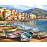 Лодки на причале Раскраска картина по номерам на холсте ZX 21511