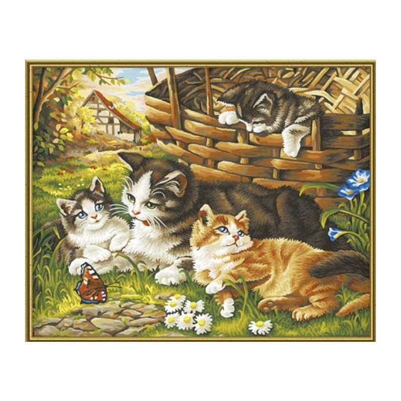 Кошка с котятами Раскраска по номерам Schipper (Германия ...