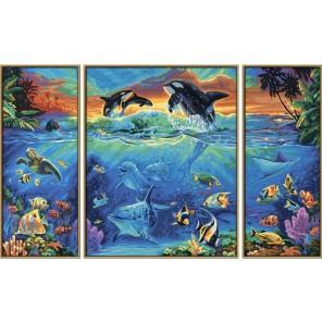 Коралловые рифы Триптих Раскраска по номерам акриловыми красками Schipper (Германия) Картина по цифрам