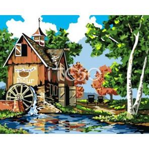 Мельница Раскраска по номерам акриловыми красками на холсте Iteso Картина по цифрам